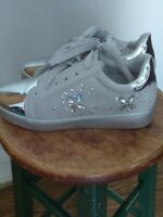 Via Pinky Collection ELLA-22 Silver shoes w/ Metallic Toe & Crystal Butterflies