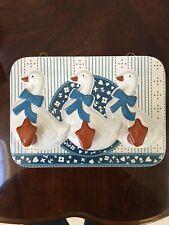 Kitchen GOOSE 3 Peg Towel Rack Ceramic Glossed Wall Hanging
