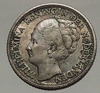 1944 CURACAO Netherlands Kingdom Queen WILHELMINA 1/4 Gulden Silver Coin i57180