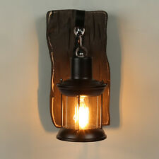 Country Retro Vintage Wooden Wall Lamp Shade Industrial Glass Pendant Lights
