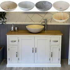 Bathroom Vanity Off White Painted Cabinet Furniture Wash Stand & Marble Stone