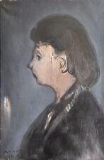 Richard Mandin.(1909 / 2002)Femme de profil. signée de 1948. Huile/ toile.v165