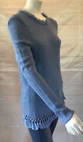 J McLaughlin, Women's Blue Sweater With Fringe And Tassle Detail. M