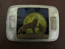 Johnson Held Abalone COYOTE Handcrafted Western Belt Buckle Mother of Pearl