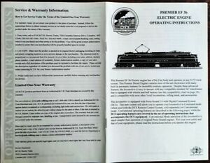 MTH Premier EF-3b Electric Engine 24page Op-Maint PAPER INSTRUCTIONS example: NH