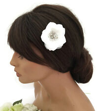 Pretty Small White Chiffon Daisy Flower Hair Clip Grip Crystal Center Bridal