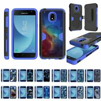 For Samsung Galaxy J3 (2018) J337 Heavy Duty Armor Hybrid Holster Clip Case Blue