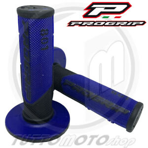 COPPIA 2 MANOPOLE PROGRIP 801 BLU NERO GEL 22-25 MOTO CROSS SUPERCROSS ENDURO