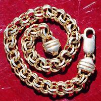 "14k yellow gold charm bracelet 7.5"" double link vintage handmade 13.2gr"