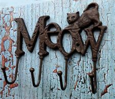 Cast Iron Cat Wall Hook Key Holder Leash Holder Meow Sign with 4 hooks Pet Decor