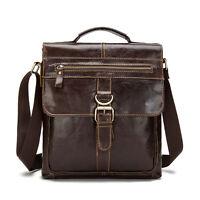 Men Genuine Leather Messenger Shoulder Bag Satchel Handbag Cross body Tablet Bag