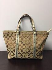 Coach Signature Tote 8K52 Beaded Khaki gold trim purse Shoulder Bag