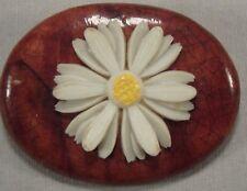 Vintage White Yellow Daisy Flower Wood Plastic Pin Brooch Retro Hippie 60s 70s