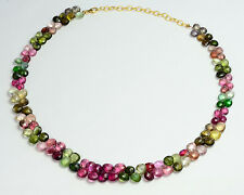 Tourmaline Heart Briolettes Bead 16.5 INCH Necklace with 18k Solid Gold clasp