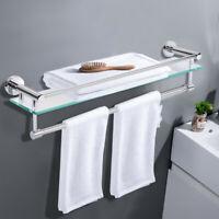 Wall Mounted Shower Storage Rack Tempered Glass Bathroom Shelf With Towel Bar