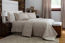 Cotton Rich Jacquard in Oyster Beige Duvet Set in Superking Size