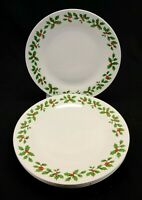 "Royal Norfolk Holly and Berries 10.5"" Dinner Plates Set of 4 White Red Green"
