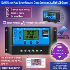 12V/24V 20A Solar Panel Regulator Charge Controller PWM LCD Display-Free Freight