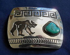 NAVAJO ROSCO SCOTT STERLING Cutout Overlay Stamped TURQUOISE Vintage BEAR BUCKLE