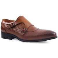 UNZE MENS 'MILLAN' LEATHER FORMAL SHOES UK SIZE 6-11 BROWN