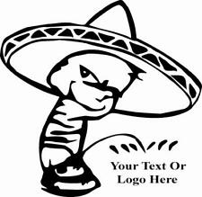 Calvin in Sombrero Peeing Vinyl Decal
