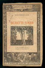 DONI ANTON FRANCESCO SCRITTI VARI FORMIGGINI 1913 CLASSICI DEL RIDERE 5 I° EDIZ.