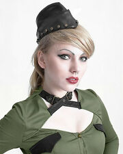 Punk Rave Steampunk Cadet Military Hat Cap Black VTG LARP Cosplay