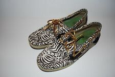 Womens SPERRY TOP-SIDER Brown and Ivory Zebra Print Shoes 8M 8 M sperrys