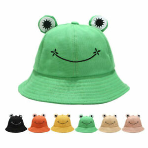 Cute Frog Bucket Hat Women Outdoor Frog Sunscreen Fisherman Travel Hat Cotton