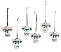 LAST SETS》6 Snowman Angel Christmas Ornaments》FAITH》JOY》HOPE》 BELIEVE》PEACE》NOEL