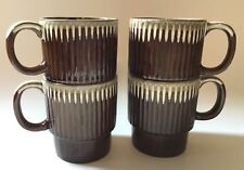 Stacking Drip Glaze Coffee Mugs 8 Oz Japan Brown Ceramic Lot of 4 Cups Vintage