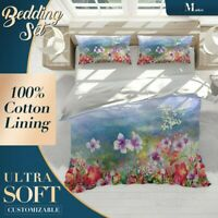 Watercolor Field Floral Flowers Red Quilt Doona Cover Set Fine Breathable Cotton