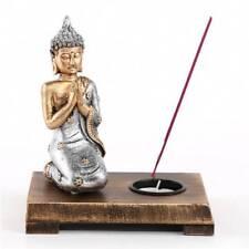 Bouddha Priant Sur Support Bois - Bougie Et Encens