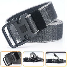 "Dark Gray 1.5"" Mens Canvas Web Belt Double Loops Buckle Heavy Duty Trousers Belt"