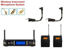 Professional UHF Dual Wireless Instrument Microphone for Saxophone Tuba Trumpet