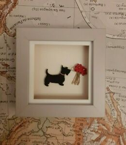 Cute black scottie dog with flowers in a grey box frame by Sarah Sample Art