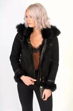 Gucci Shearling Leather Jacket Hooded Black IT42 Small UK10 US6 £2350 sheepskin