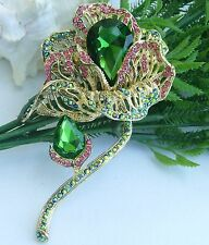 Art Deco Multicolor Austrian Crystal Flower Brooch Pin Party Jewelry 06624C5