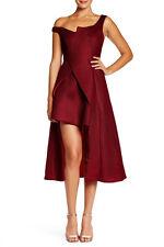 ISSUE NEW YORK RED burgundy or black asymmetrical Off Shoulder mesh Dress sz M-L
