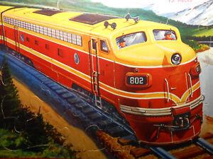 Antique Milton Bradley kid puzzle 1958 Locomotive Train Great Graphics found in