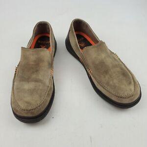 Crocs Suede Orange And Brown Slip On Shoes Sz 9
