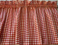 Valance Red  and White Check Curtain Gingham Cotto for Any Room Prim Farmhouse