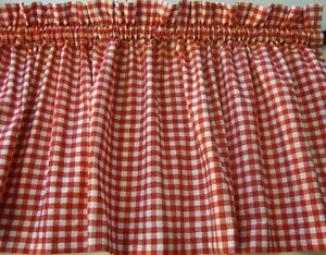 Valance Red and White Check Curtain Gingham for Any Room Farmhouse Kitchen