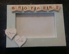"Bespoke Personalised brothers photo Frame 6""x4"" scrabble art gift keepsake"