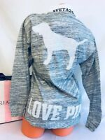Victoria's Secret PINK Long Sleeve Bling Sequin Heather Gray Campus Tee Shirt XS