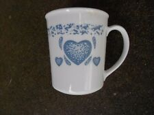 TW0  Corelle Country Blue Heart COFFEE CUP/MUGS  Corning Ware  USA