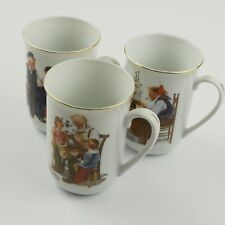 Norman Rockwell Lot of 3 Vintage Collectible Coffee Mugs Cup Ivory Gold Trim