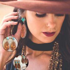 Vintage Turquoise Alloy Ear Stud Dangle Bohemian Earrings Women Wedding Jewelry