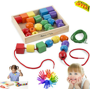 Autism Sensory Toy Lacing Beads Wooden BoxSet Learning Educational Special Need