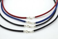 Genuine Greek Leather Cord Necklace With Sterling Silver Clasp Handmade in UK